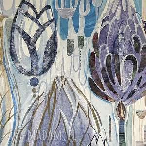 ręcznie obraz akryl na płótnie - kwiaty
