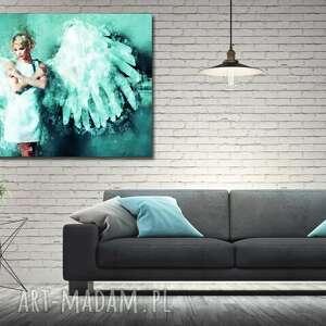 niesztampowe obrazy obraz anioł 1 turkus - 120x70cm na