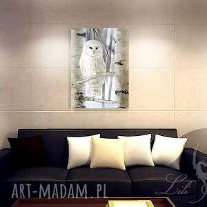 szare sowa obraz biała - skandynawski
