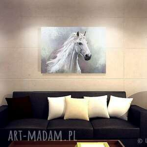 białe obrazy koń obraz biały - płótno