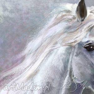 nietuzinkowe obrazy obraz biały koń - płótno