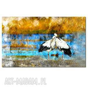 obrazy obraz xxl bociany 3 - 120x70cm na