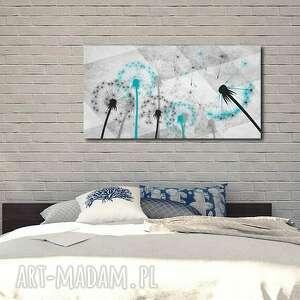 białe obrazy xxl obraz dmuchawce turkusowe d7