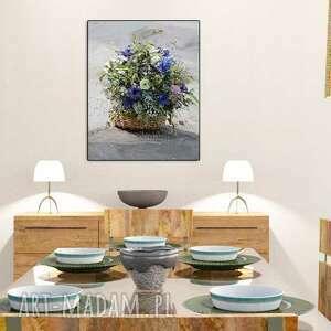 Obraz do salonu Koszyk z kwiatami, 40 x 50, elegancki minimalizm, grafika obrazy kwiaty