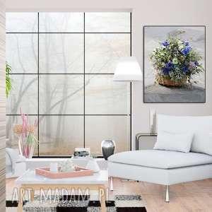 Obraz do salonu Koszyk z kwiatami, 40 x 50, elegancki minimalizm, grafika natura obrazy