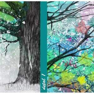 drzewo turkusowe zielone obraz drukowany na płotnie