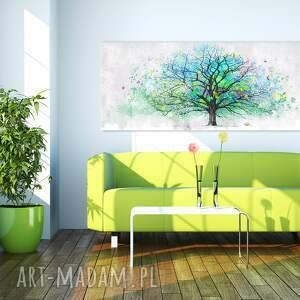 drzewo turkusowe obraz drukowany na płotnie