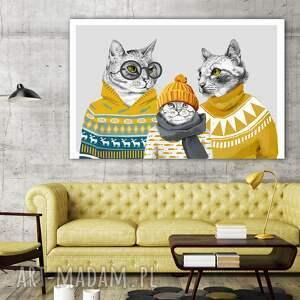 turkusowe rodzina obraz drukowany na płótnie kocia