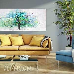 turkusowe obraz z-drzewem drukowany na płotnie