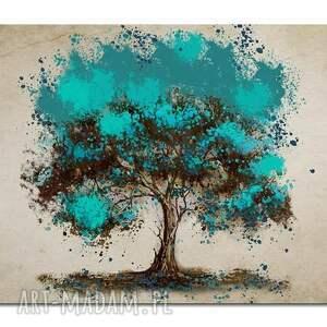 obraz xxl drzewo turkusowe