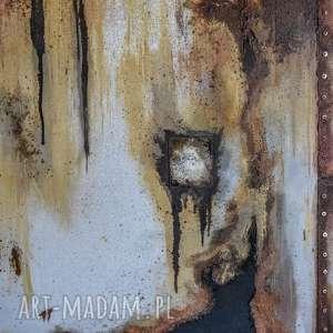 Obraz imitujący pordzewiałą ścianę. Loftowy i industrialny