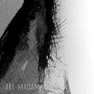 akwarela kobieta czarne obraz malowany tuszem na papierze