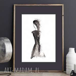 ciekawe akwarela kobieta obraz malowany tuszem na papierze