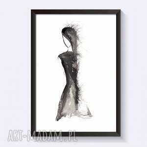 szare mała czarna obraz malowany tuszem na papierze
