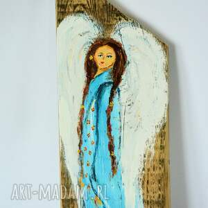 brązowe anioł obraz na drewnie