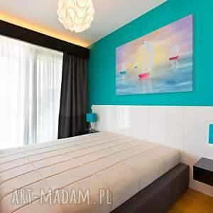 VAKU DSGN obraz na płótnie - żaglówki kolorowy pejzaż - 120x80 cm (95501)
