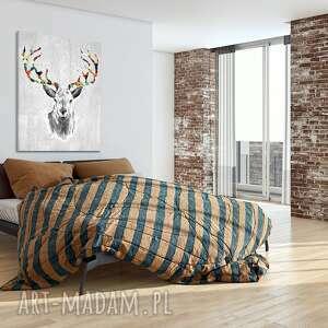 jeleń szare obraz na płótnie - 180x100cm