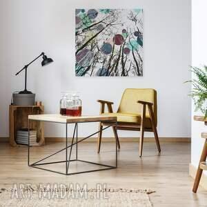 VAKU DSGN obraz na płótnie - koła drzewa kolory - w kwadracie - 80x80 cm (24202) abstrakcja