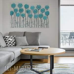 niebieskie kwiaty obraz na płótnie - błękitny