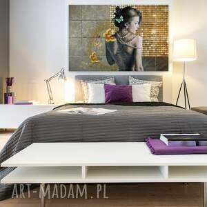 akt obraz na płótnie - kobieta złoto