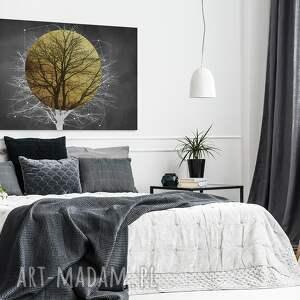 czarne art deco obraz na płótnie - drzewo słońce