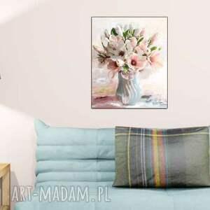 niebieskie bukiet obraz na płótnie magnolie w wazonie
