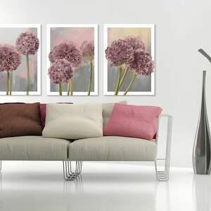 różowe czosnek obraz na płótnie - 3 części
