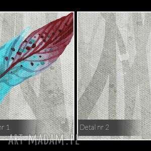 niesztampowe kolorowy obraz na płótnie - pióra gałęzie