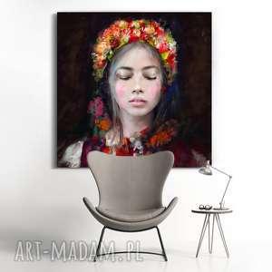 intrygujące obrazy design obraz na płótnie lady folk 100x100