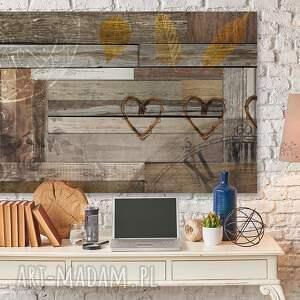 brązowe obrazy deski obraz na płótnie - serca drewno