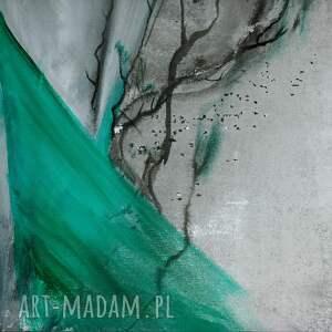 szare obraz do salonu na płótnie malowany ręcznie