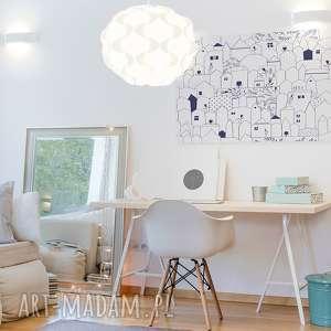 niebieskie domki obraz na płótnie - minimalizm