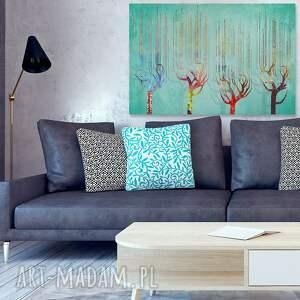 VAKU DSGN obraz na płótnie - cztery drzewa kolory turkus - 120x80 cm (48701)