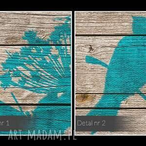 liście obraz na płótnie - ptaki drewno