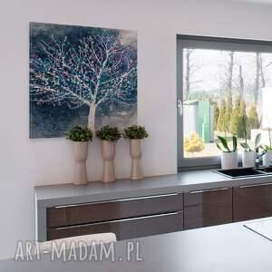 obraz na płótnie - drzewo liście - w kwadracie - 80x80 cm (30605)