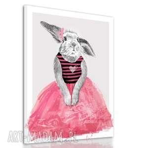 króliczek obrazy różowe obraz na płótnie - 60x80cm
