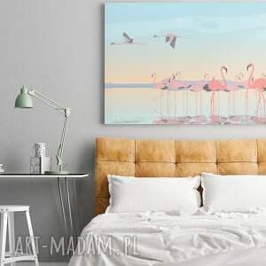 turkusowe obrazy flaming obraz na płótnie - flamingi ptaki