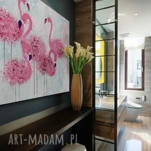 intrygujące obrazy flamingi obraz na płótnie - różowy