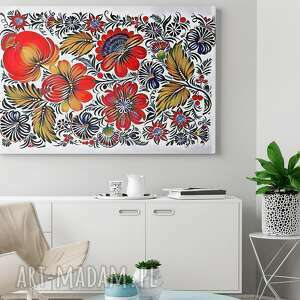 kolorowe obrazy kwiaty obraz na płótnie - folklor