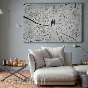 ptaki szare obraz na płótnie - gałęzie
