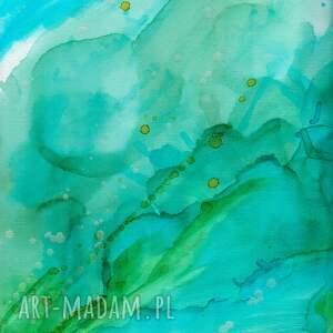obrazy ręcznie malowane turkusowe obraz na płótnie malowany