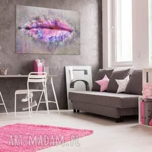 usta obrazy szare obraz na płótnie - różowy