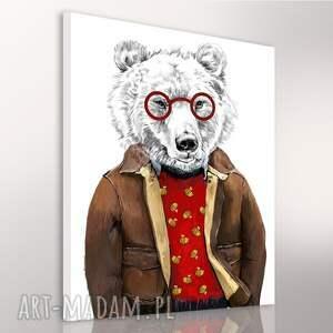 niedźwiedź obrazy brązowe obraz na płótnie - 60x80cm