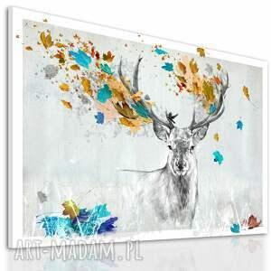 turkusowe obrazy jeleń obraz na płótnie - 120x80cm