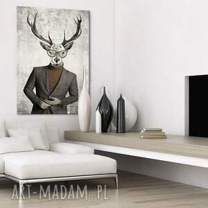 brązowe obrazy jeleń obraz na płótnie - 100x70cm elegant