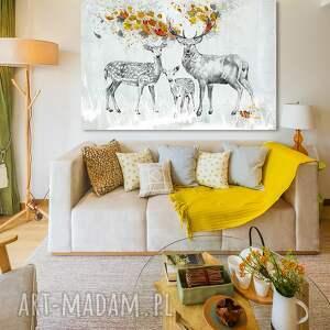 wyraziste jelenie obraz na płótnie - 120x80cm pejzaż