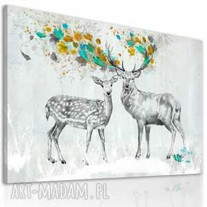 eleganckie obrazy jelenie obraz na płótnie - 120x80cm pejzaż