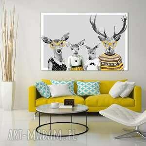 ludesign gallery obraz na płótnie - 120x80cm rodzina jeleni, rodzice, córka i syn 02354 jelenie