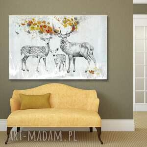 jelenie pomarańczowe obraz na płótnie - 120x80cm pejzaż