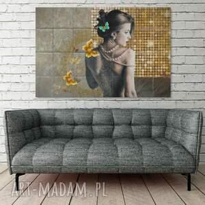 niepowtarzalne kobieta obraz na płótnie - złoto